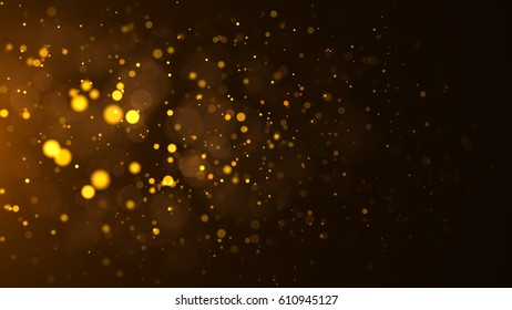 Gold abstract bokeh background dust particles
