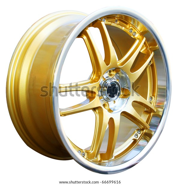 Gold alloy wheel, isolated over white background