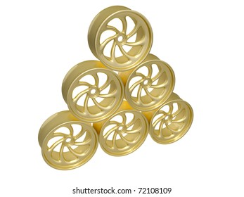 gold alloy wheels isolated
