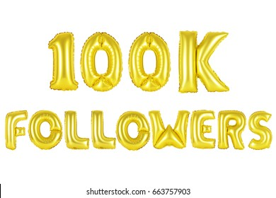 Gold alphabet balloons, 100K (one hundred thousand) followers, Gold number and letter balloon