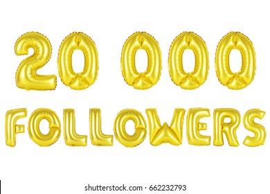 Gold alphabet balloons, 20K (twenty thousand) followers, Gold number and letter balloon