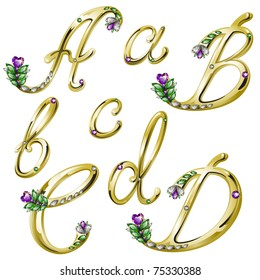 Gold alphabet with diamonds and gems letters A,B,C,D (see eps version in my portfolio)