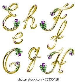 Gold alphabet with diamonds and gems letters E,F,G,H (see eps version in my portfolio)