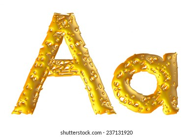 Gold alphabet symbol - Big & lowercase letter on isolated white.