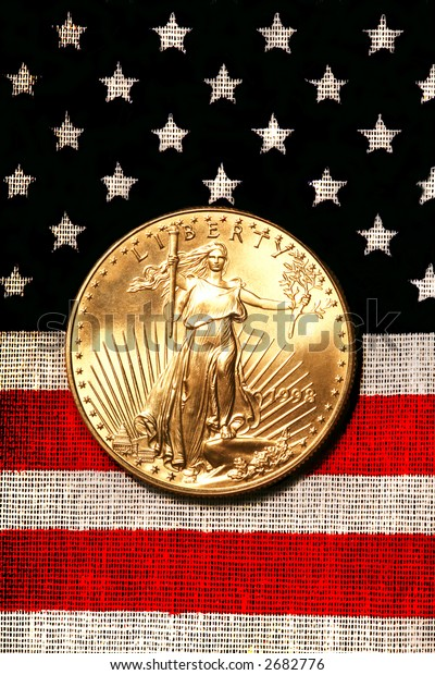 Gold American Eagle On American Flag, Signs and Symbols