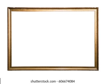 gold antique picture frame over white background.