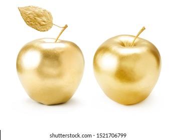 Gold apple set on white background.