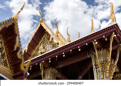 Gold architecture at Temple of Emerald Buddha (Wat Phra Kaew) in Grand Royal Palace