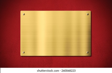 Gold award plaque or plate on red background