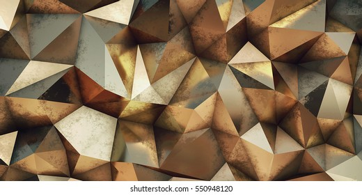 Gold background. Abstract triangle texture. Low poly illustration.