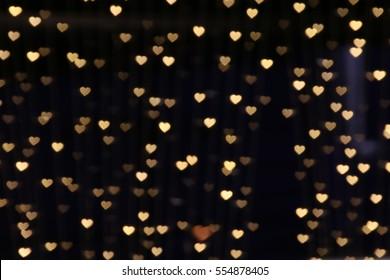 gold background bokeh lights heart soft, heart background colorful cute, heart bokeh light for dark wallpaper, light heart glitter for valentine backgrounds, blurred sparkle for night backdrop