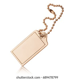 gold badge on a chain on an isolated white background