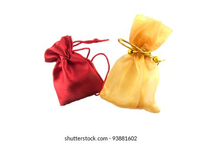 Gold bag and red bag in white background ,use for keep money or cosmetics