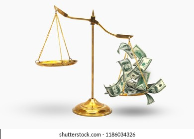 Gold Balance of judge inequality because money weigh injustice concept isolated on white background cliping path inside