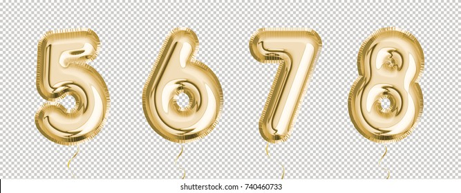 Gold balloon set 5, 6, 7, 8 made of realistic 3d illustration air balloon. Collection of balloons number with Clipping path ready to use for your unique decoration with several concept idea.
