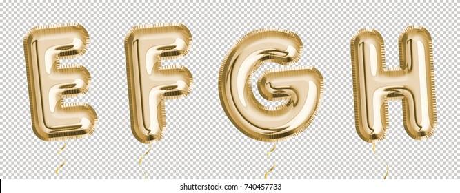 Gold balloon set E, F, G, H made of realistic 3d helium air balloon. Collection of balloon alphabet.