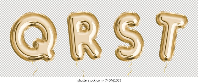 Gold balloon set Q, R, S, T made of realistic 3d render air balloon. Collection of balloon alphabet with Clipping path ready to use for your unique decoration with several concept idea in any occasion
