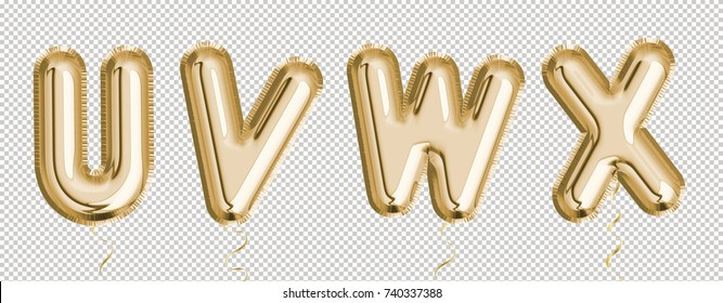Gold balloon set U, V, W, X made of realistic 3d render air balloon. Collection of balloon alphabet with Clipping path ready to use for your unique decoration with several concept idea in any occasion