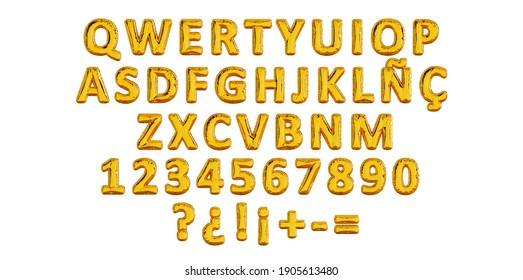 Gold Balloon typography of spanish letters, QWERTY latin alphabet, party ballon name letter composition