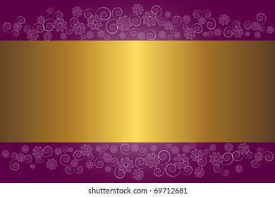 Gold banner on a floral background.  The similar image in my portfolio in vector format.