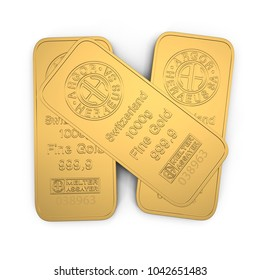 gold bar 1000g isolated on white. Top view. 3D illustration