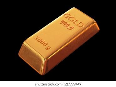 Gold bar. 3D Illustration