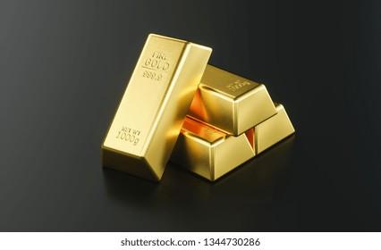 Gold bar close up shot on black background