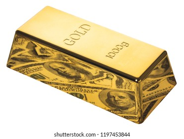 gold bar closeup on white isolated background