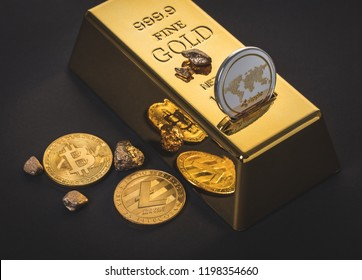 gold bar and cryptocurrency on a black background