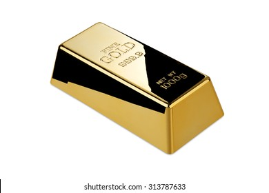 Gold bar isolated with clipping path?/?Photo of a 1kg gold bar isolated on a white background