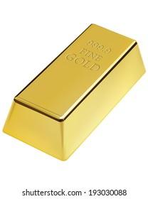 Gold bar isolated. Illustration