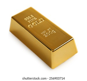 Gold bar isolated on white