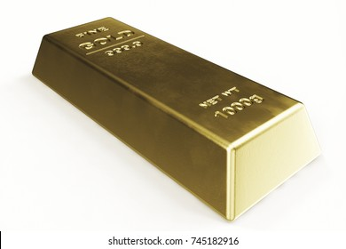 Gold Bar isolated on white background, weight of Gold Bars 1000 grams Concept of wealth and reserve. Concept of success in business and finance, 3d illustration