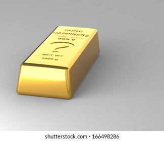 Gold bar on the Gray Background. Labeled with Pure Happiness?