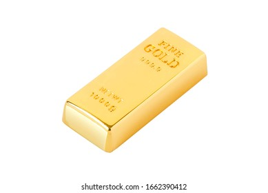 Gold bar on white background of isolates