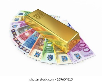Gold bar and paper euro money (isolated on white and clipping path)