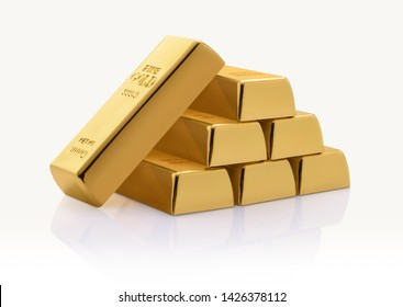 Gold bar stack isolated on white background.