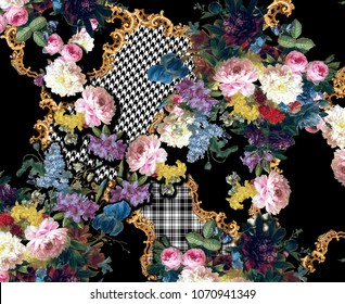 gold baroque,black and white plaid pattern with flowers design