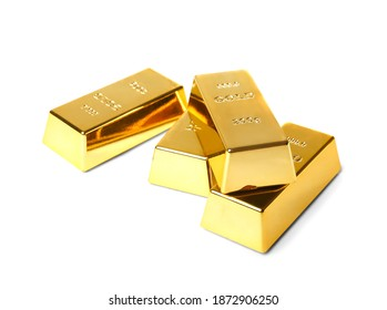 Gold bars of 200 g on a white background. A pile of gold is not isolation