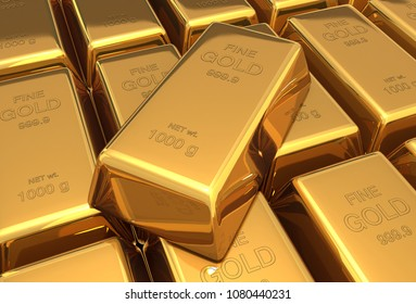 gold bars 3d illustration background