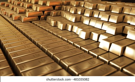 Gold Bars 3D realistic rendering
