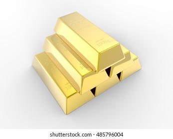 Gold Bars 3d Render