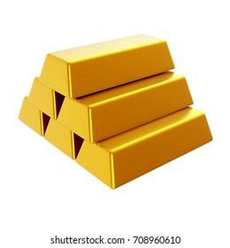 Gold bars. 3d render illustration