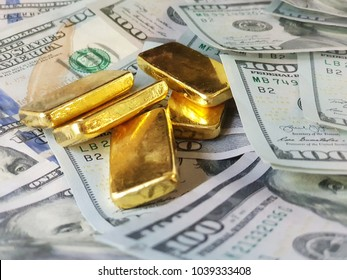 Gold bars affect with US Dollar.exchange rate.Use for website/banner background, backdrop, montage menu