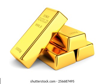 Gold bars. Group of golden ingots isolated on white background. Banking and investment concept.