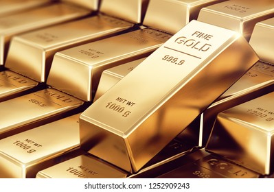 Gold bars indicating the weight