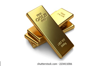 Gold bars, ingot on white backgrounds