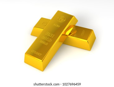 Gold bars isolated on white background. High Quality 3D Render.