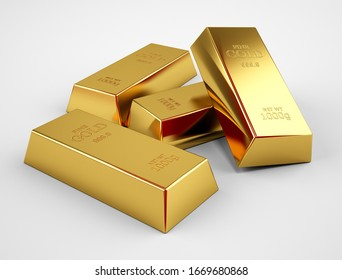 Gold bars isolated on white background Financial concept