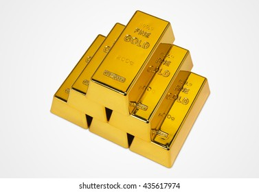 Gold Bars Isolated on White Background Photograph (with clipping path)